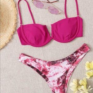 Tie dyed underwire bra top bikini swimsuit